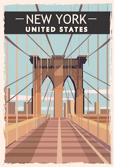New york retro poster. usa new-york reizen illustratie. verenigde staten van amerika