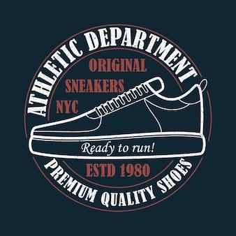 New york sneakers grunge typografie voor design kleding tshirt met sportschoenen