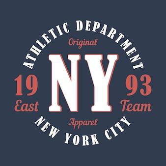 New york sportkleding typografie embleem voor tshirt ontwerp voor atletische kleding print