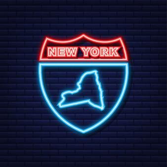 New york staat kaart overzicht animatie. neon icoon. vector illustratie.