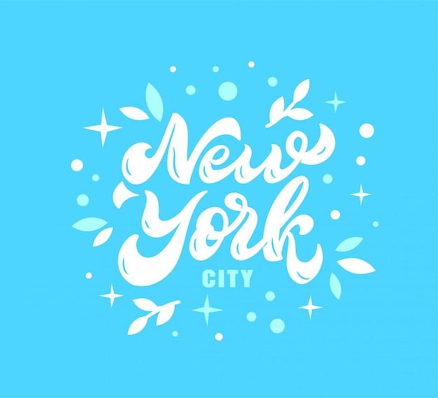 New york stadsembleem, hand getrokken het van letters voorzien samenstelling, illustratie