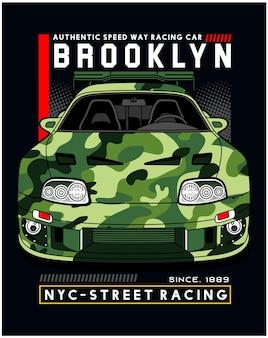 New york straat racewagen vector illustratie ontwerp grafisch voor afdrukken
