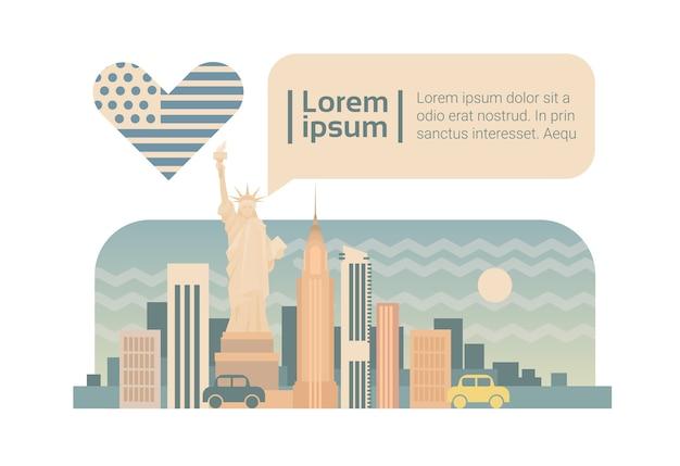 New york street city panorama facade skyline cartoon Premium Vector