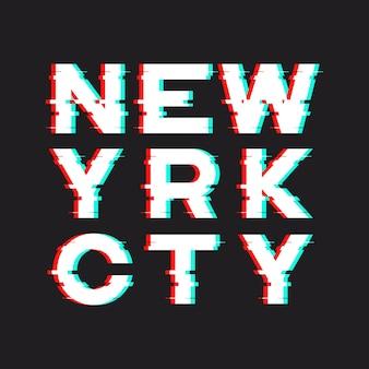 New york t-shirt en kleding met lawaai, glitch, distorti