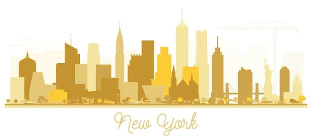New york usa city skyline gouden silhouet. vectorillustratie. eenvoudig plat concept voor toeristische presentatie, banner, plakkaat of website. zakelijk reisconcept. new york cityscape met monumenten.