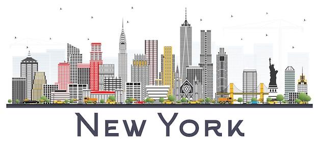 New york usa skyline met grijze wolkenkrabbers.
