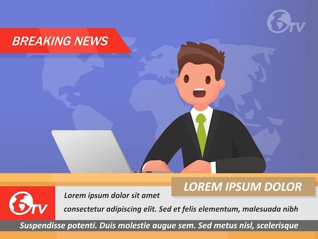 News anchor op tv breaking news. in een vlakke stijl