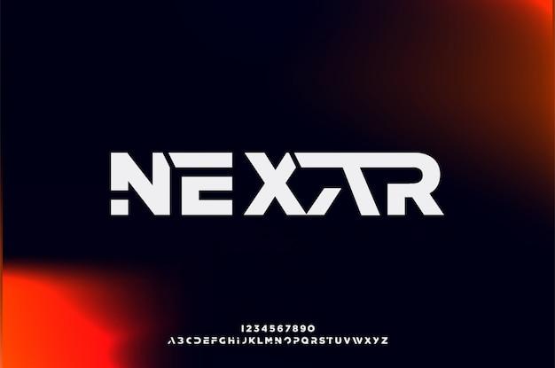Nexar, een abstract futuristisch alfabetlettertype met technologiethema. modern minimalistisch typografieontwerp