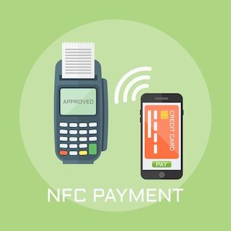 Nfc-betaling plat ontwerp stijl illustratie, pos-terminal bevestigt de betaling met behulp van een smartphone