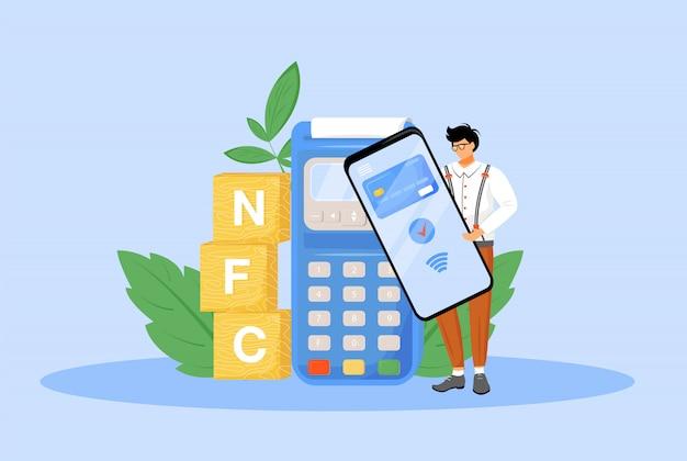 Nfc-betaling platte concept illustratie. man met smartphone voor contactloze betaling 2d stripfiguur voor webdesign. e betalingsapplicatie, near field communicatietechnologie creatief idee