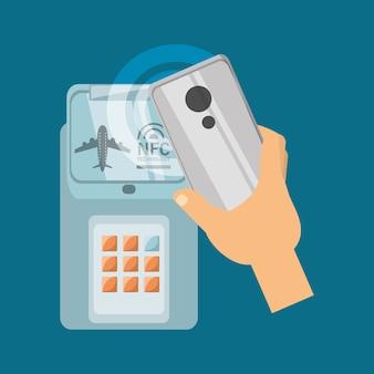 Nfc-technologieontwerp met telefoon en creditcard