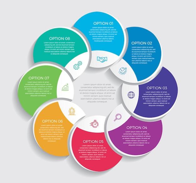 Nfografisch ontwerp en marketingpictogrammen. bedrijfsconcept met 8 opties, stappen of processen.