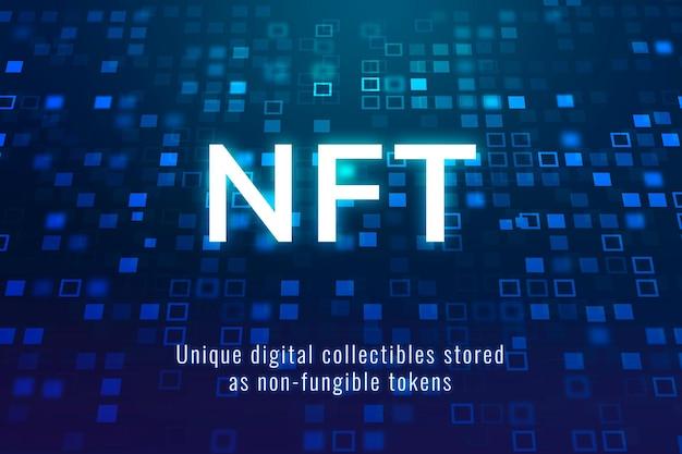 Nft crypto collectible template vector gedecentraliseerde blockchain blog banner