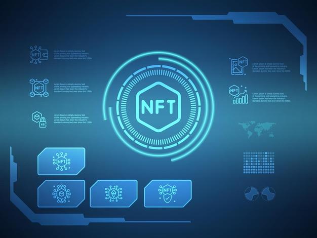 Nft digitale technologie futuristische hud display achtergrond met nft iconen vector illustratie