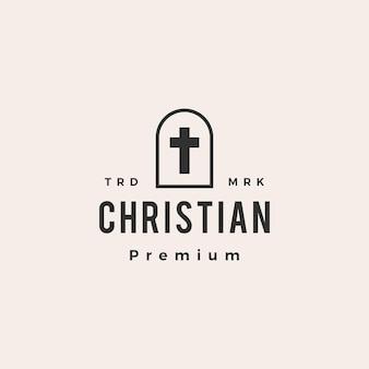 Niche deur christelijk kruis hipster vintage logo