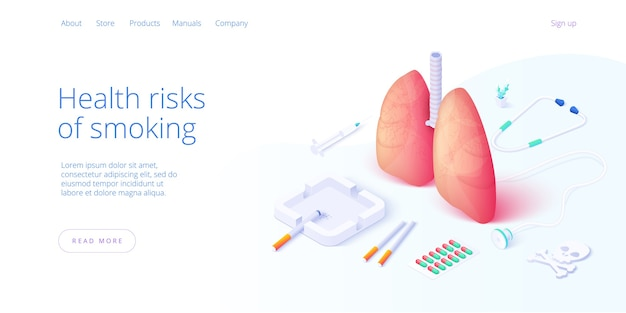Nicotineafhankelijkheid of rookverslaving illustratie in isometrisch vectorontwerp. sigaretten en longen met asbak en aansteker als concept voor tabaksverslaafde of roker. webbanner lay-out sjabloon.