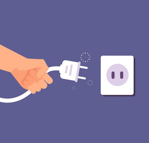 Niet aangesloten stekker. aansluiting of ontkoppeling van elektriciteit met draadstekker en stopcontact.