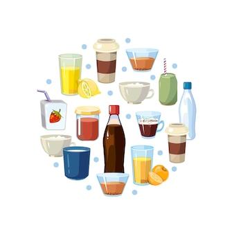 Niet-alcoholische dranken in cirkel