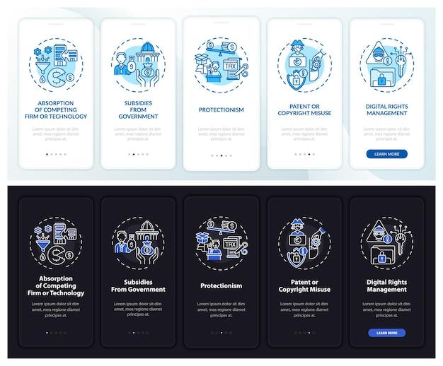 Niet-concurrerende methoden onboarding paginascherm voor mobiele apps met concepten