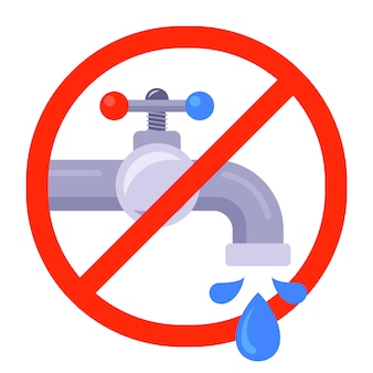 Niet-drinkbaar water in de doorgestreepte rode cirkel.
