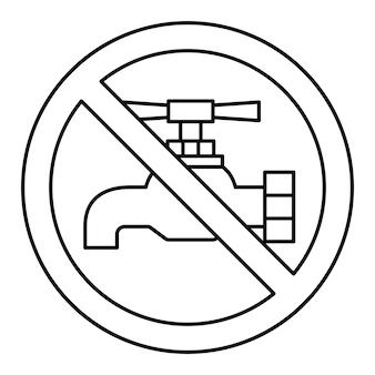 Niet drinkbaar water, verbodsteken. drink geen water, teken. tik op pictogram. kraan verboden pictogram. dun lijnsymbool. vector illustratie