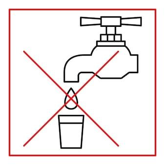 Niet drinkbaar water, verbodsteken. drink geen water, teken. tik op pictogram. kraan verboden pictogram. dun lijnsymbool. vector