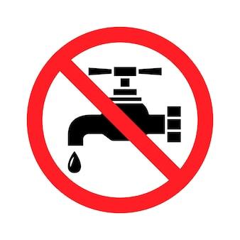Niet drinkbaar water, verbodsteken. drink geen water, teken. tik op pictogram. kraan verboden pictogram. glyph-symbool. vector