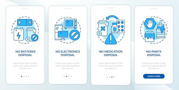 Niet geaccepteerd rotzooi blauw onboarding-paginascherm voor mobiele apps. geen verwijdering afval walkthrough 4 stappen grafische instructies met concepten. ui, ux, gui vectorsjabloon met lineaire kleurenillustraties