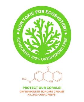 Niet giftig voor het ecosysteem bescherm onze koralen huidverzorgingscosmetica die koraalriffen bleken