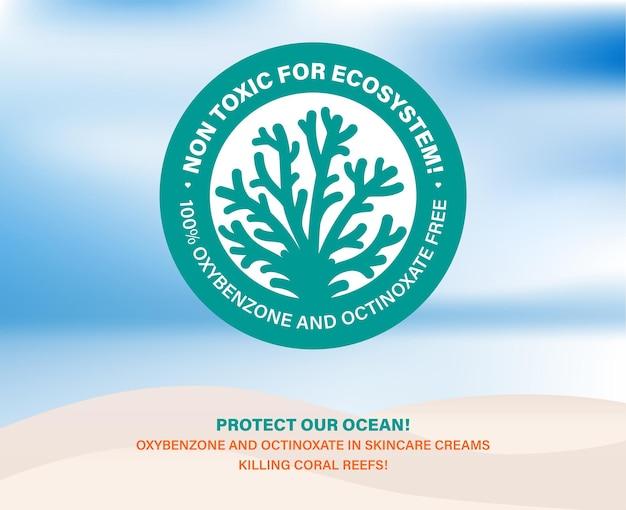 Niet giftig voor het ecosysteem bescherm onze oceaan huidverzorgingscosmetica koraalriffen bleken