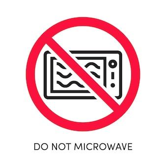Niet magnetron label vector oven pictogram gekruiste rode cirkel eps