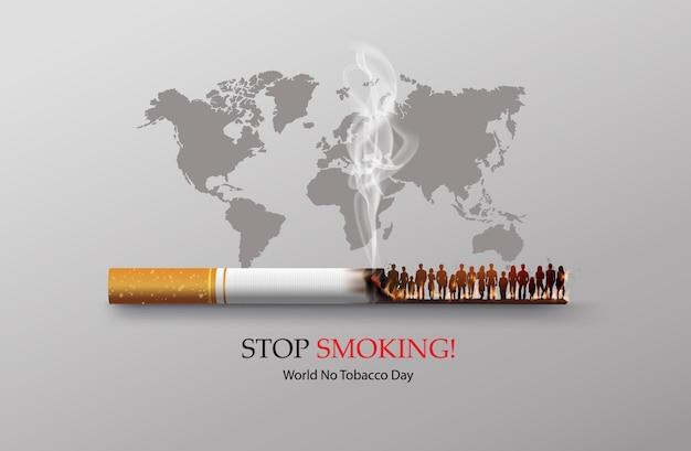 Niet roken en world no tobacco day-kaart met veel mensen en hand anti-sigaret in de stad in papieren collagestijl met digitaal vaartuig.