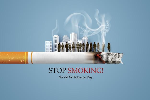 Niet roken en world no tobacco day-kaart met veel mensen in de stad in papieren collagestijl met digitaal vaartuig