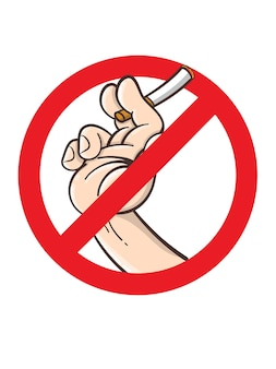 Niet roken teken, cartoon stijl