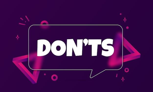 Niet. tekstballon banner met niet tekst. glasmorfisme stijl. voor zaken, marketing en reclame. vector op geïsoleerde achtergrond. eps-10.