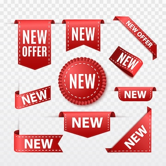 Nieuw aanbieding sale tag. rood lint banner geïsoleerd. vector label of badge