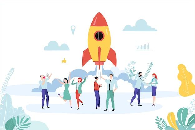 Nieuw bedrijf opstarten sjabloon met raket en mensen teamwerkontwikkeling coaching marketing