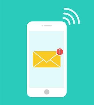 Nieuw bericht in smartphone. .