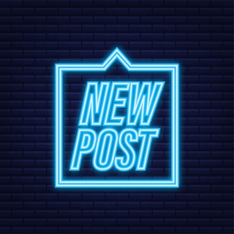 Nieuw bericht. knoppen voor sociale media. neon icoon. vector voorraad illustratie.