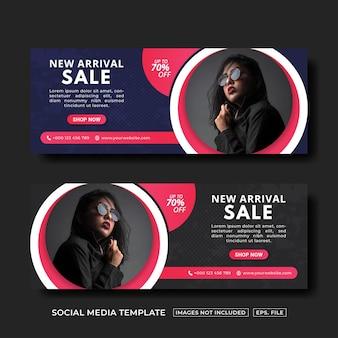 Nieuw binnengekomen verkoop social media post-ontwerpsjabloon voor spandoek premium vector