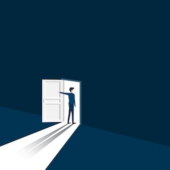Nieuw carrièreconcept. zakenman opent de deur op zoek naar de mogelijkheid voor nieuw werk. begin van zakelijke carrière. leiderschap, opstarten, visie, vectorillustratie plat