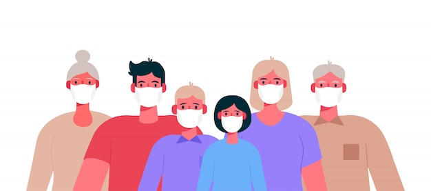 Nieuw coronavirus 2019-ncov. familie die beschermend medisch masker draagt.