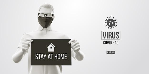 Nieuw coronavirus. man met zwart masker op een zwarte achtergrond. blijf thuis. werk vanuit huis. medisch masker en virusbescherming.