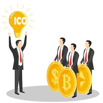 Nieuw ico of concept voor het aanbieden van een eerste munt