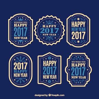 Nieuw jaar 2017 retro stickers set