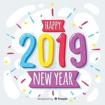 Nieuw jaar 2019 achtergrond in de hand getrokken stijl