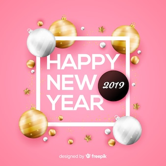 Nieuw jaar 2019 met gouden ballenachtergrond