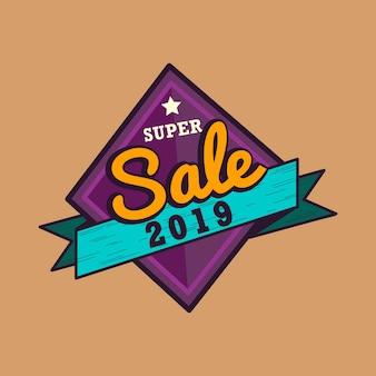 Nieuw jaar 2019 verkoop embleem vector