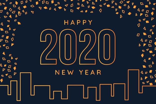 Nieuw jaar 2020 achtergrondconcept in overzichtsstijl