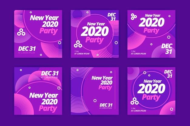 Nieuw jaar 2020 feest instagram post set